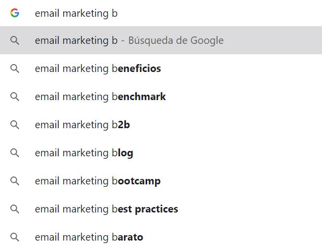 Ejemplo de búsqueda en google